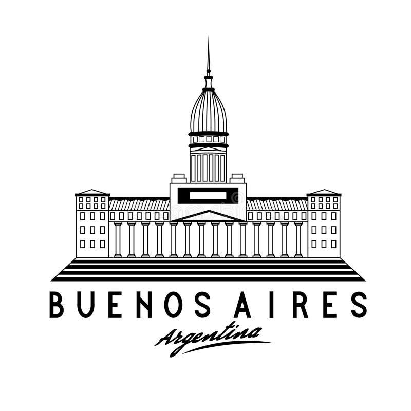 Congresso em Buenos Aires, Argentina, illustra do vetor ilustração do vetor