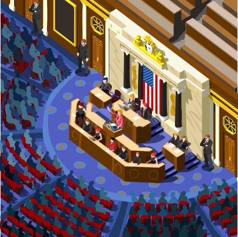 Congresso Hall Us Vetora Isometric People de Infographic da eleição ilustração royalty free
