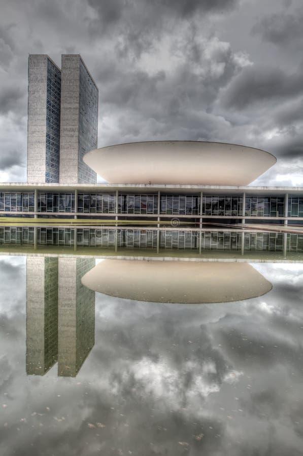 Congresso nacional de Brasil no vertical de Brasília imagem de stock