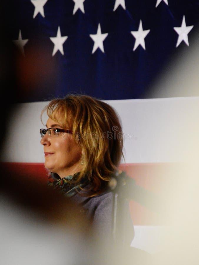 Congresswoman Gabrielle Giffords. Gabby american flag congress gun shot survivor campaign politics trail event crowd politician arizona house representatives royalty free stock image