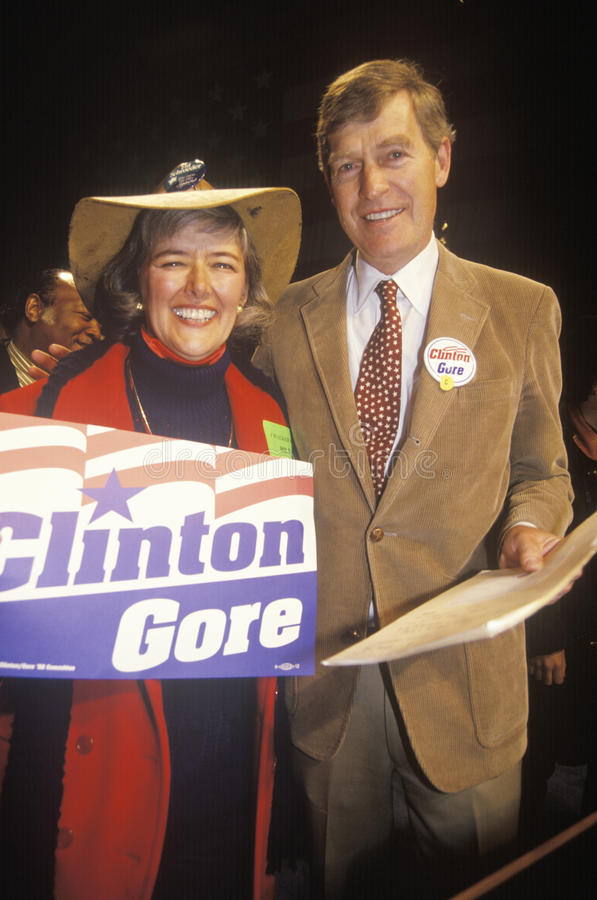 Congresswoman Pat Schroeder and Tim Wirth. At a Denver campaign rally in 1992 on Bill Clinton's final day of campaigning in Denver, Colorado royalty free stock photo