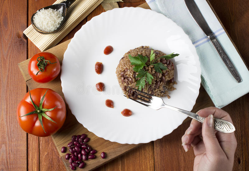 Congri. Dish of Cuban national cuisine stock photos