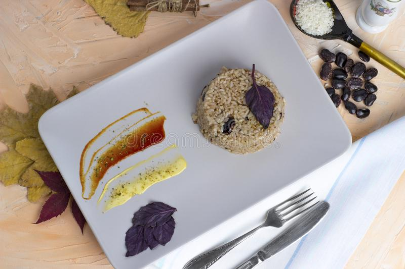 Congri dish of Cuban national cuisine. Congri, Rice with beans, a typical dish of Cuban food. Simple but delicious dish of rice. With fried beans and Congri stock photography
