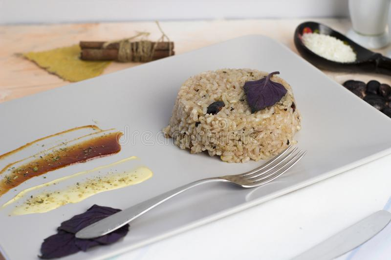 Congri dish of Cuban national cuisine. Congri, Rice with beans, a typical dish of Cuban food. Simple but delicious dish of rice. With fried beans and Congri royalty free stock images