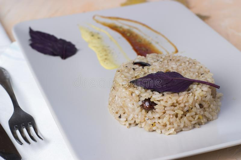 Congri dish of Cuban national cuisine. Congri, Rice with beans, a typical dish of Cuban food. Simple but delicious dish of rice. With fried beans and Congri royalty free stock image