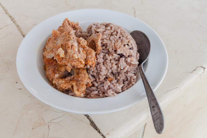 Congri rice and beans with a meat, Cuban mea. L stock photos