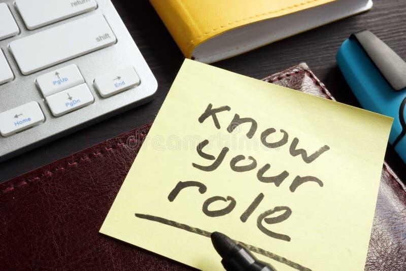Conheça seu papel escrito em uma vara do memorando fotografia de stock royalty free