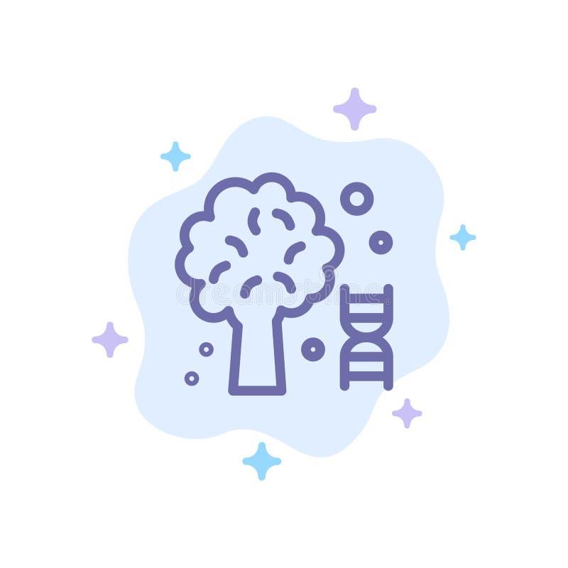 Conhecimento, ADN, ciência, ícone azul da árvore no fundo abstrato da nuvem ilustração royalty free