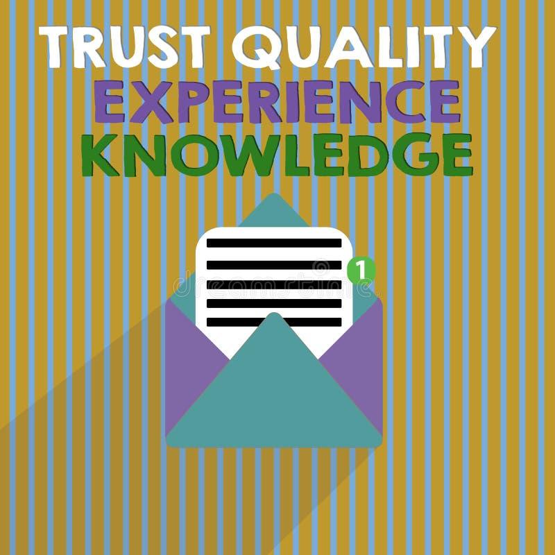 Conhecimento da experiência da qualidade da confiança do texto da escrita da palavra Conceito do negócio para o serviço e a satis ilustração stock