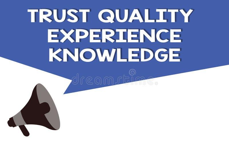 Conhecimento da experiência da qualidade da confiança do texto da escrita Serviço e satisfação de qualidade do cliente do signifi ilustração do vetor