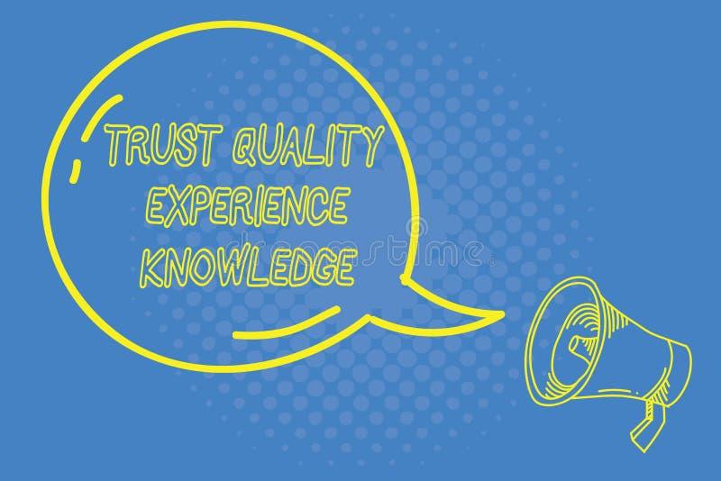 Conhecimento da experiência da qualidade da confiança da escrita do texto da escrita Serviço e satisfação de qualidade do cliente ilustração stock