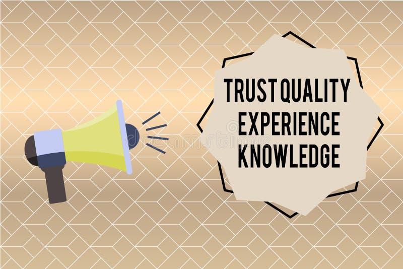 Conhecimento da experiência da qualidade da confiança da escrita do texto da escrita Serviço e satisfação de qualidade do cliente ilustração do vetor