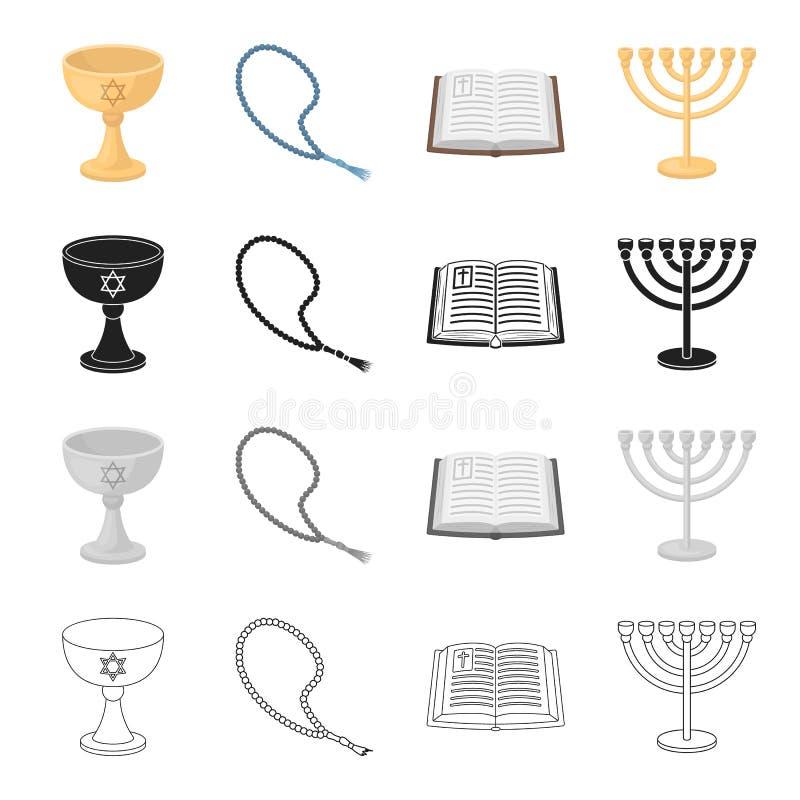 Conhecimento, igreja, religião e o outro ícone da Web no estilo dos desenhos animados História, castiçal, projeto, ícones na cole ilustração royalty free