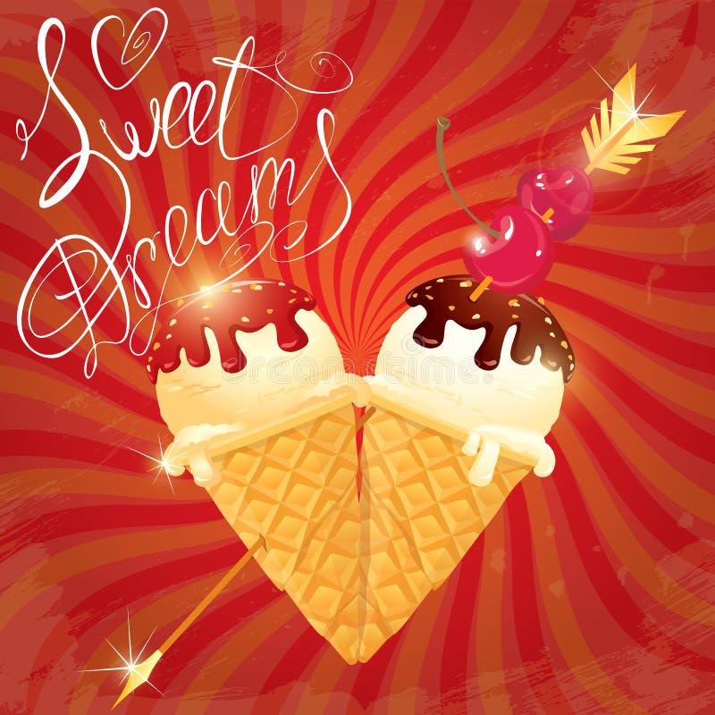 Coni del gelato alla vaniglia con cioccolato illustrazione di stock