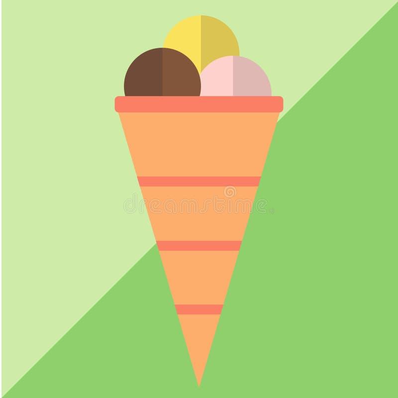 Coni di gelato della fragola, del cioccolato, della vaniglia e del pistacchio sopra priorità bassa bianca illustrazione di stock