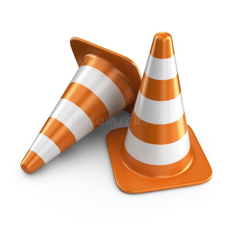 Coni di traffico vista blu della tinta del segnale stradale di angolo largamente icona 3D illustrazione di stock