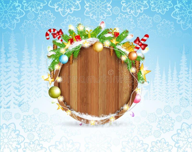 Coni e presente del ramo di albero dell'abete di Snowy sul confine di legno rotondo Fondo orizzontale di natale della foresta di  illustrazione di stock