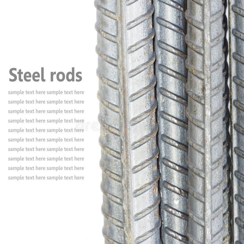 Coni retinici d'acciaio, barre di rinforzo isolate su fondo bianco usato fotografia stock libera da diritti