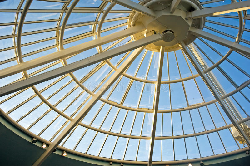 Conical,  glass roof.