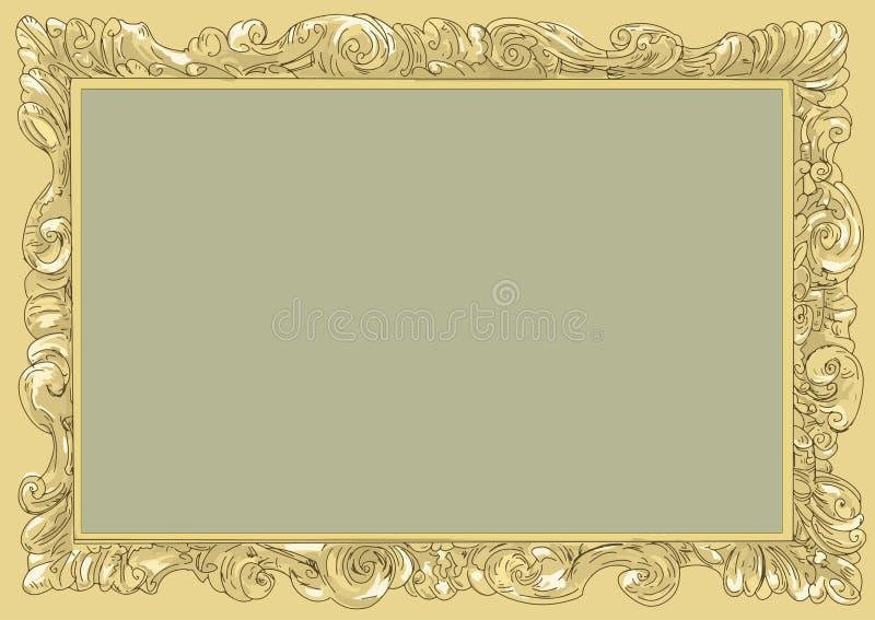 Conice del oro para pintar o frontera del marco del vintage de la postal retra, grabando libre illustration