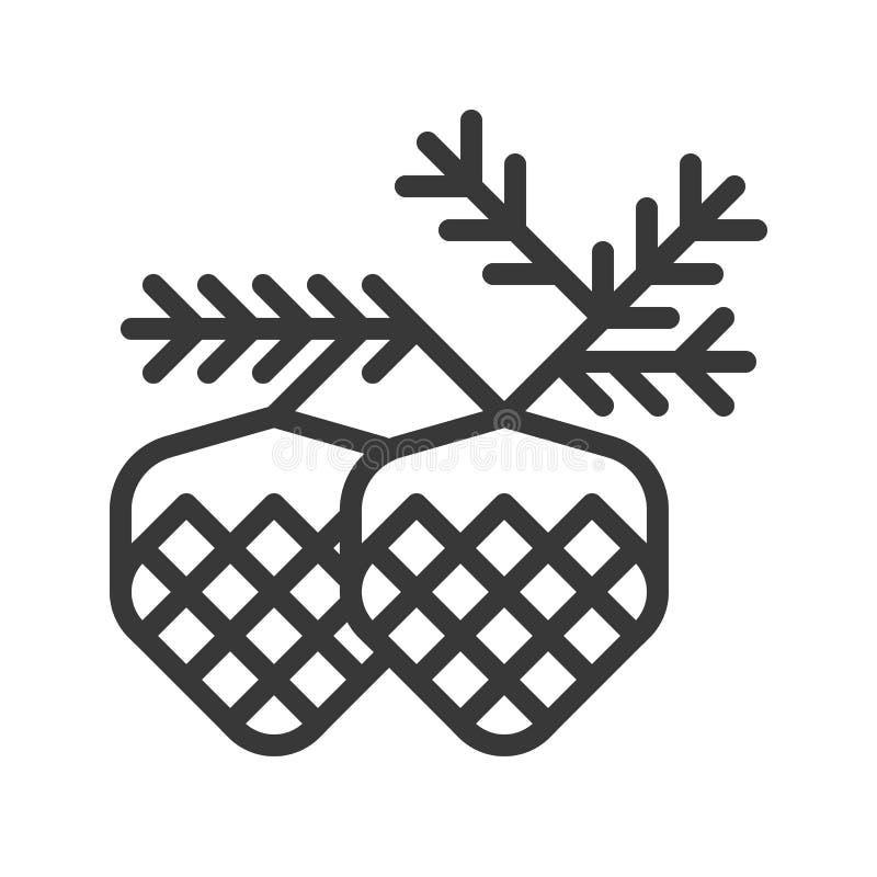 Conifer szyszkowy wektor, Chirstmas odnosić sie editable kontur ikonę royalty ilustracja