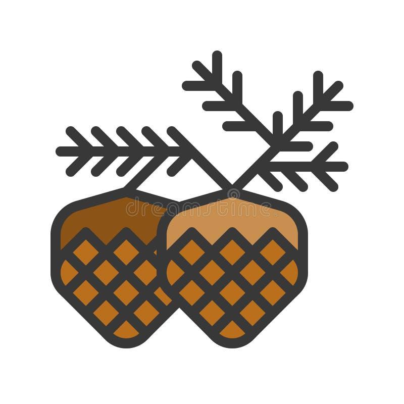 Conifer szyszkowy wektor, Chirstmas odnosić sie wypełniającą stylowej ikony konturu editable ikonę ilustracja wektor