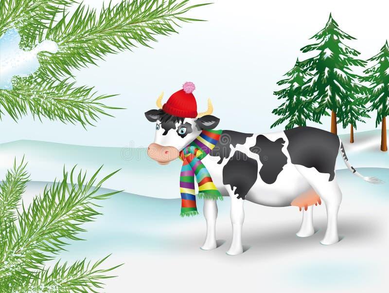 coniferous древесина зимы коровы иллюстрация вектора