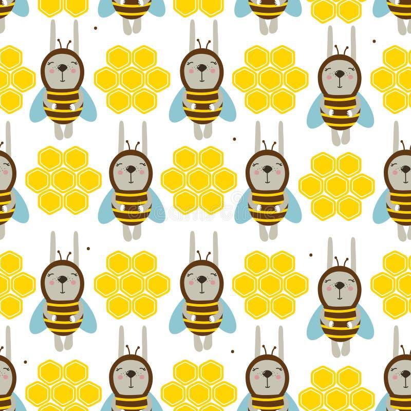 Conigli - api, favi, modello senza cuciture variopinto Fondo sveglio decorativo con gli animali illustrazione di stock