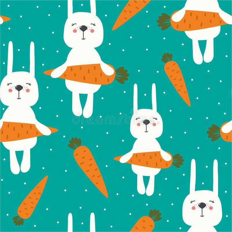 Conigli con le carote, modello senza cuciture variopinto royalty illustrazione gratis