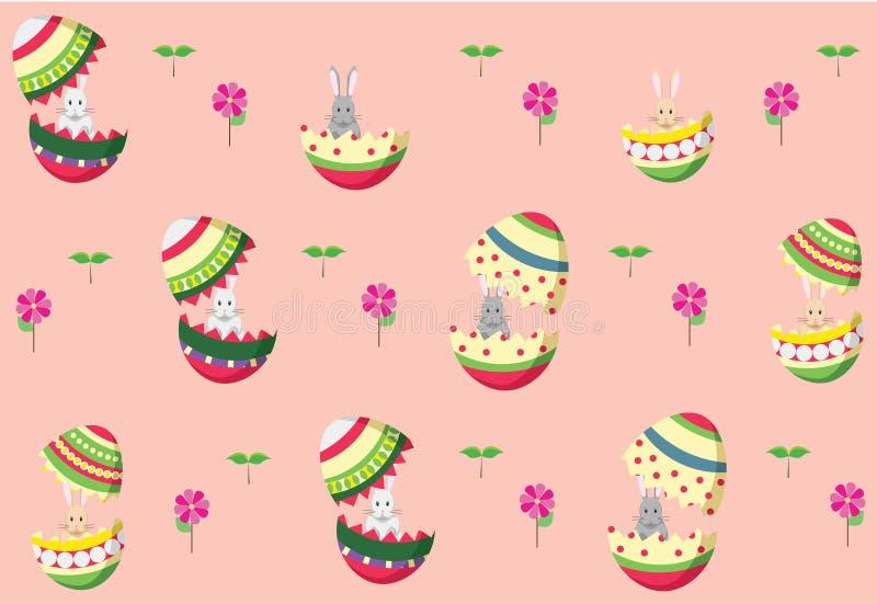 Conigli di coniglietto di pasqua con il modello delle uova di Pasqua royalty illustrazione gratis