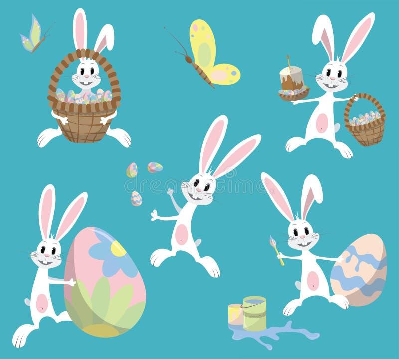 Conigli divertenti di pasqua in uno stile piano illustrazione vettoriale