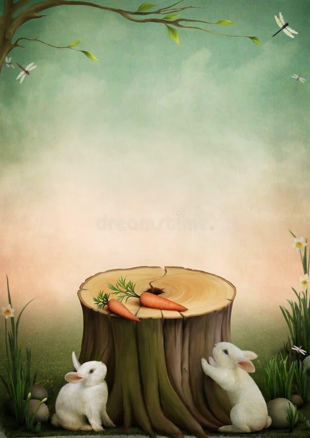 Conigli e carote illustrazione vettoriale