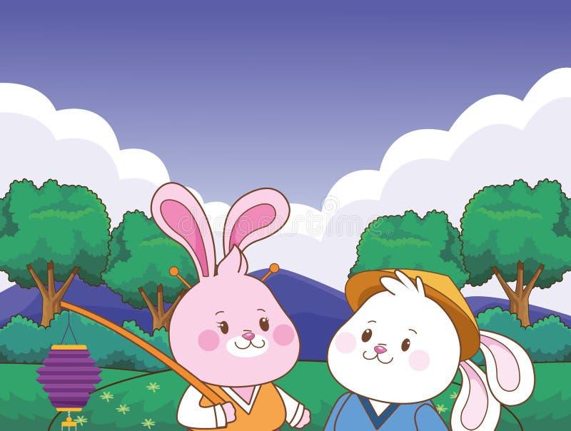 Conigli nei metà di fumetti di festival di autunno royalty illustrazione gratis