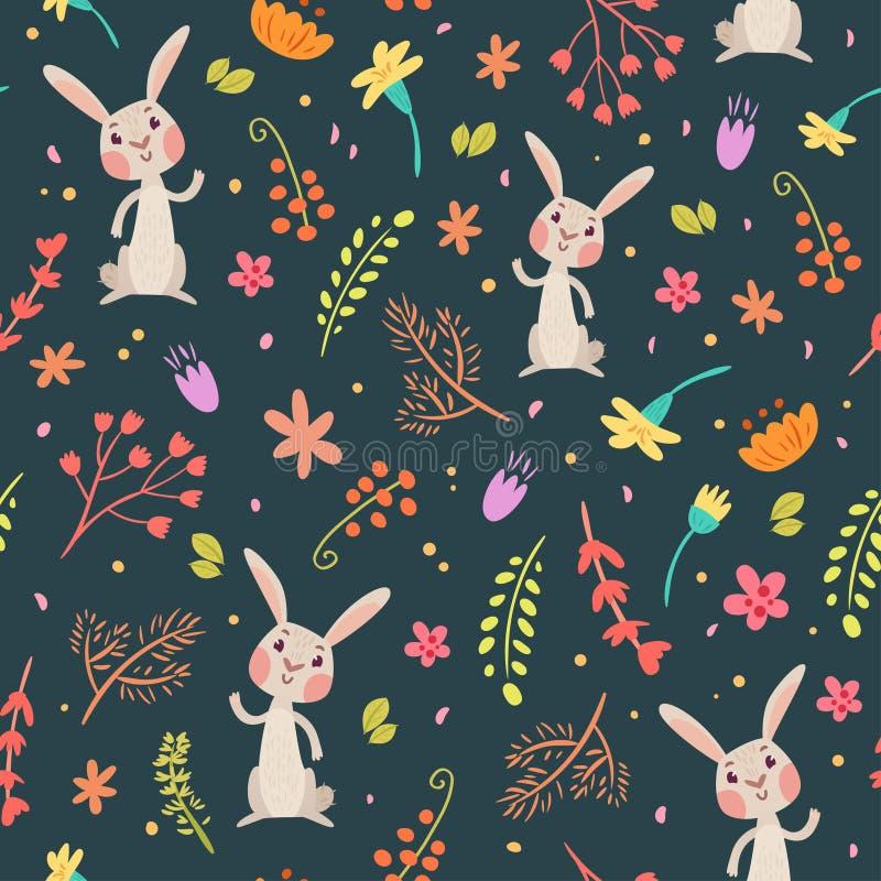 Conigli nel modello senza cuciture sveglio della foresta illustrazione di stock