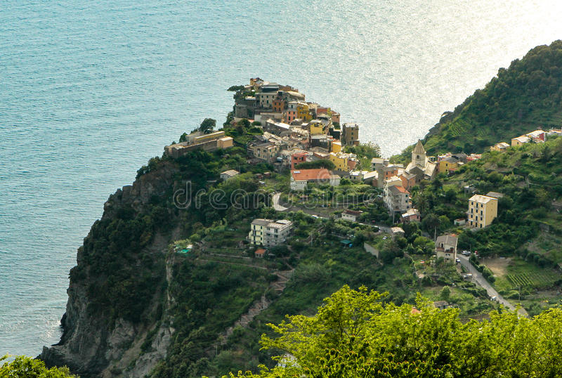 Coniglia nad morze, Cinque Terre Włochy zdjęcie stock