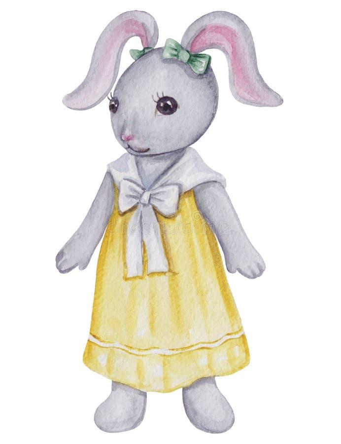 Coniglietta sveglia dell'acquerello illustrazione vettoriale