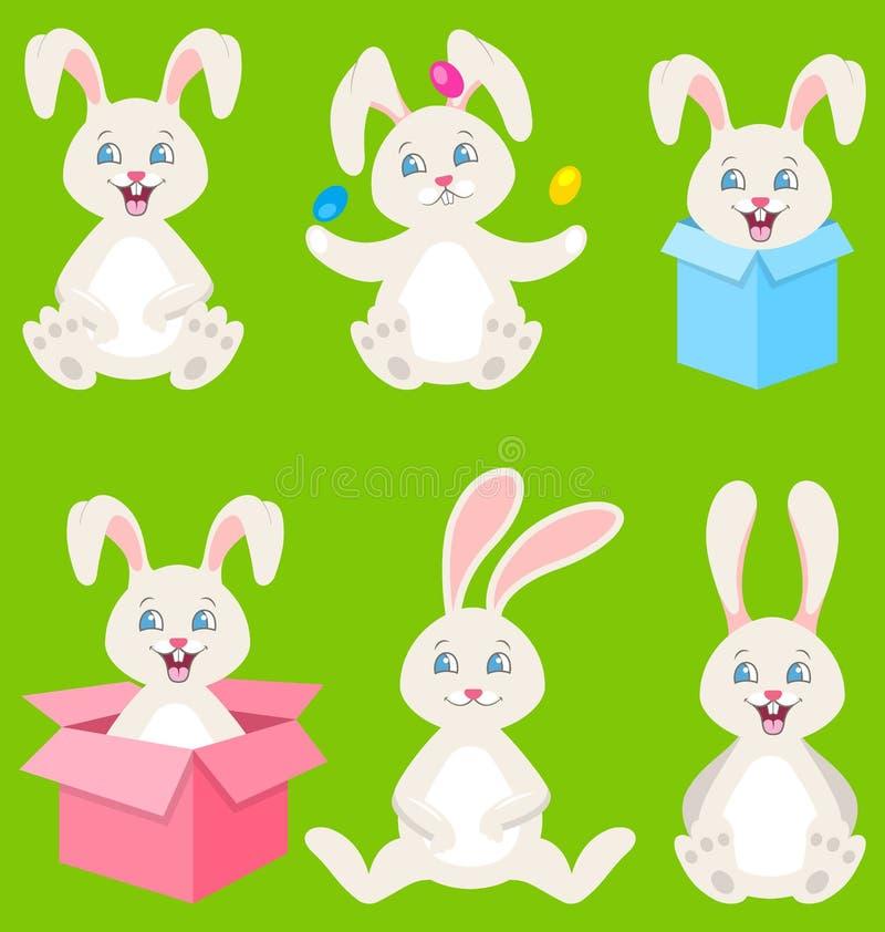 Coniglietti di pasqua felici della raccolta con le uova, contenitori di regalo, conigli svegli royalty illustrazione gratis
