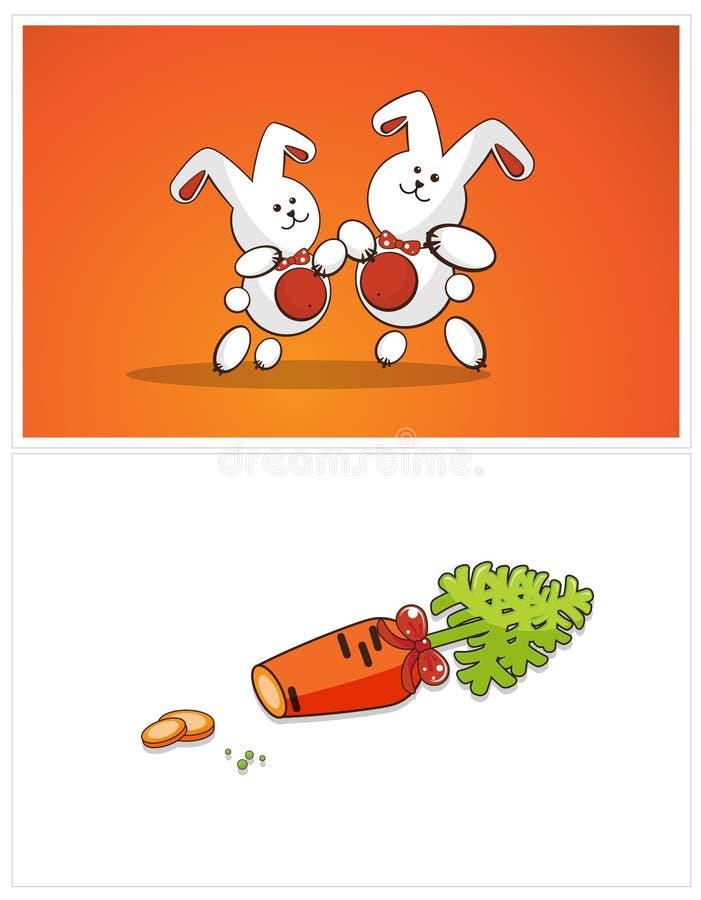 Coniglietti e carote di Dancing illustrazione vettoriale