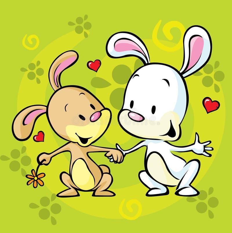Coniglietti nell'amore royalty illustrazione gratis