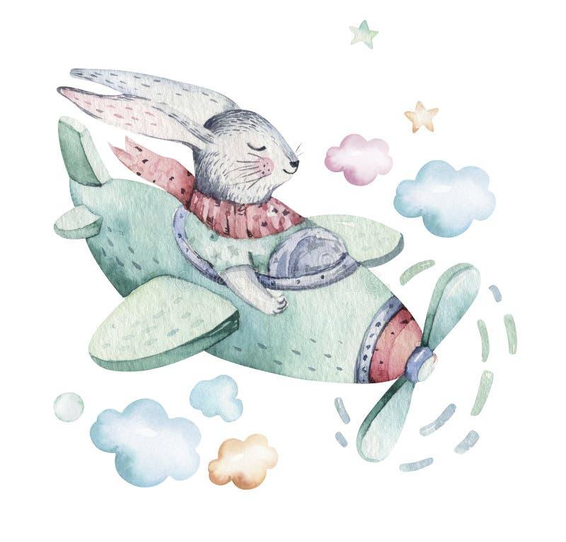 Coniglietti pilota svegli del fumetto dell'acquerello del coniglietto di pasqua della mosca del disegno della mano con l'aeroplan illustrazione vettoriale
