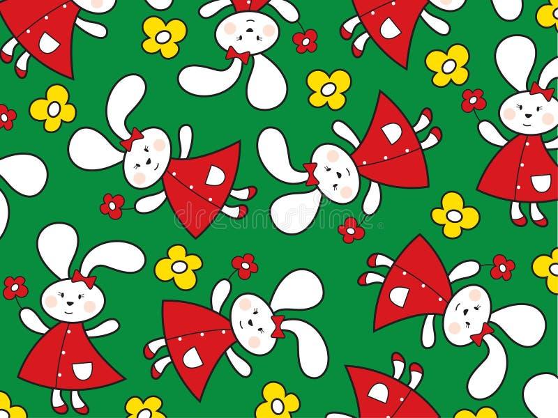 Coniglietti rossi e margherite gialle illustrazione di stock