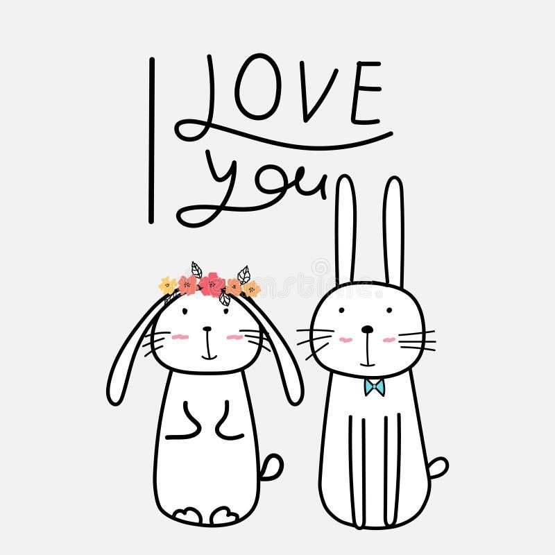 Coniglietti svegli disegnati a mano con tipografia del ` del ` ti amo royalty illustrazione gratis