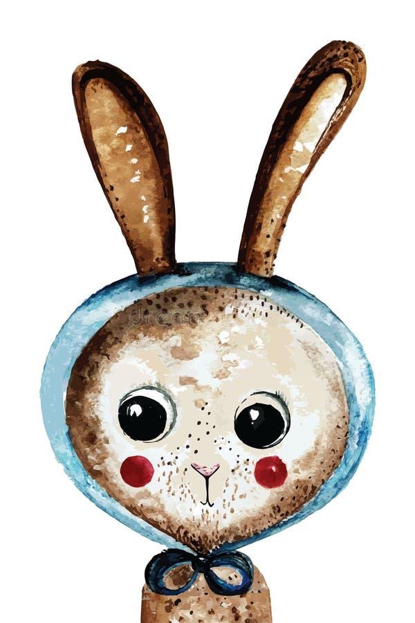 Coniglietto adorabile dell'acquerello in scialle blu fotografia stock