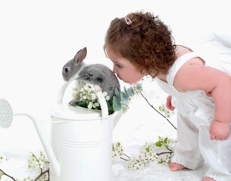 Coniglietto baciante del bambino fotografia stock