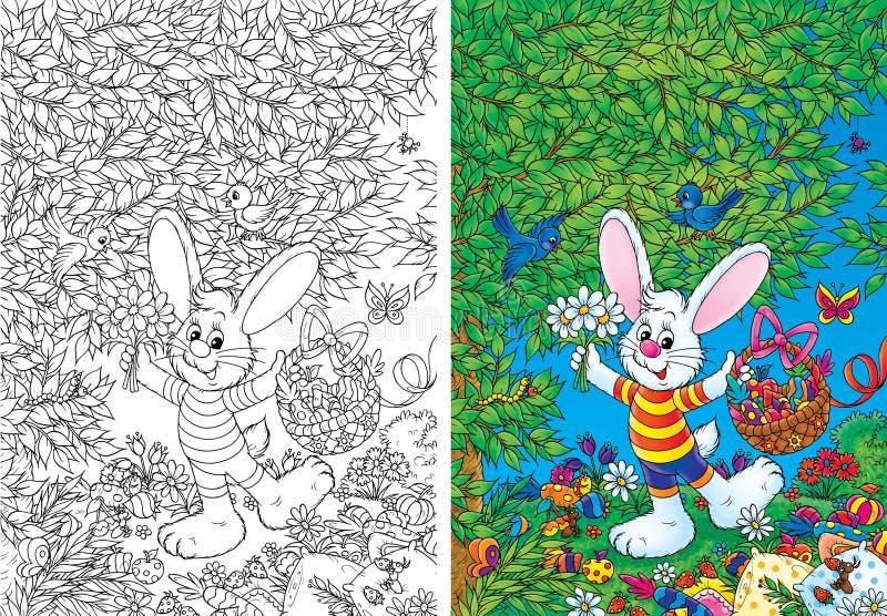 Coniglietto bianco con il cestino di Pasqua royalty illustrazione gratis