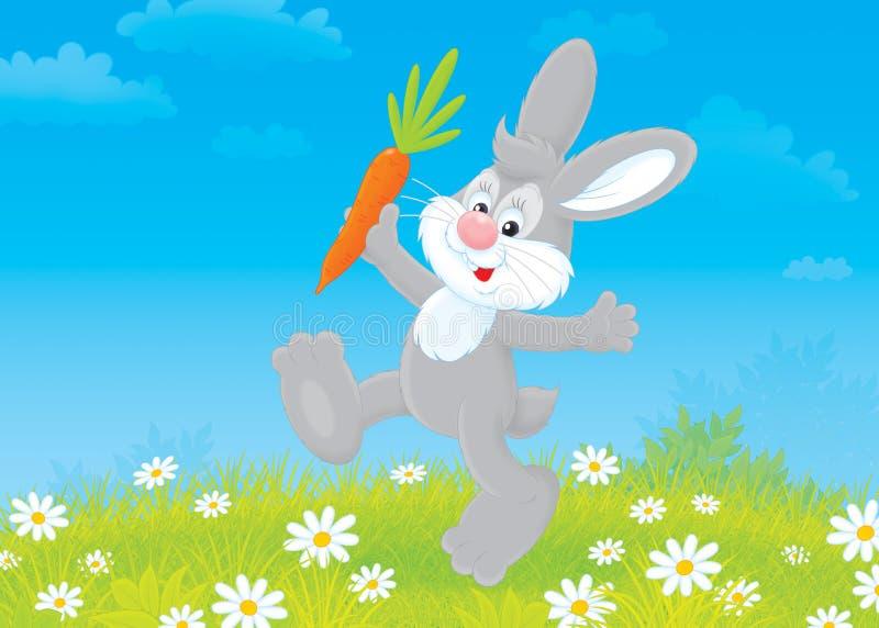 Coniglietto con una carota illustrazione di stock