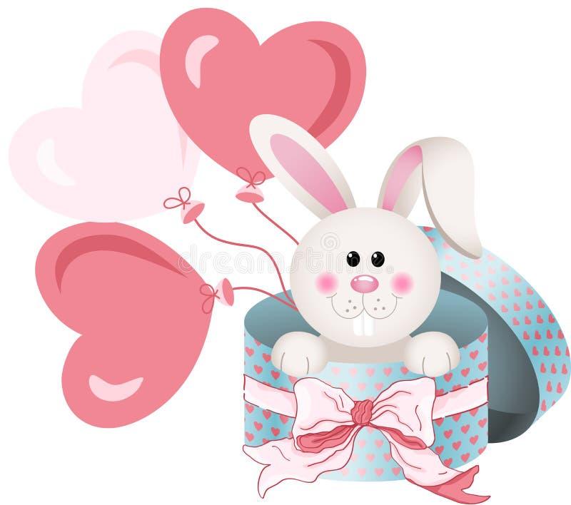 Coniglietto in contenitore di regalo rotondo con il nastro ed i palloni dell'arco illustrazione di stock