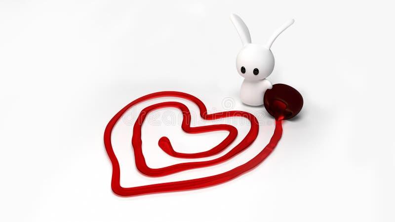 Coniglietto del biglietto di S. Valentino immagine stock libera da diritti