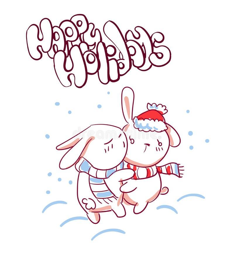 Coniglietto del carattere di bacio di schizzo di stile di scarabocchio della cartolina di Natale royalty illustrazione gratis