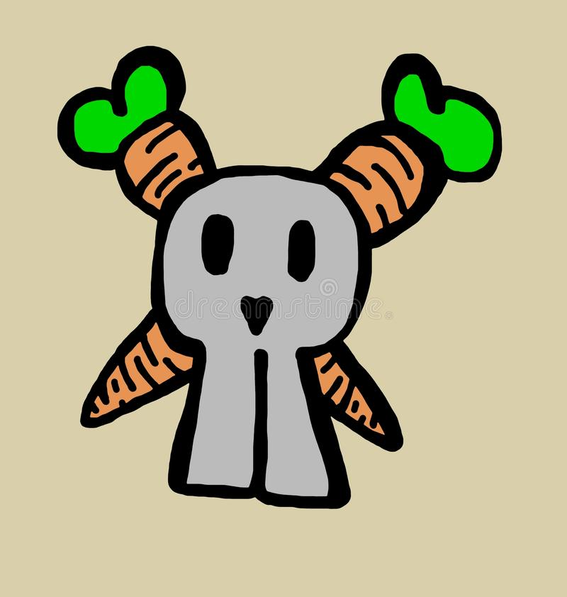 Coniglietto del cranio con le ossa delle carote illustrazione vettoriale